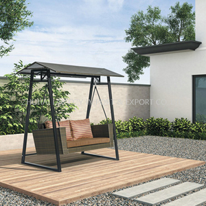 Outdoor Luxury Aluminium PE Rattan Swing Chair with Cushion And Pillows