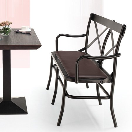 Hotel Restaurant Steel Chair Long Chairs PU Leather Iron Chair