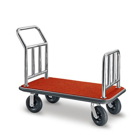 Hotel lobby 304 stainlesss steel wheeled luggage hand truck