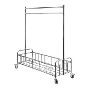 Housekeeping wheeled stainless steel garment cart for hotel