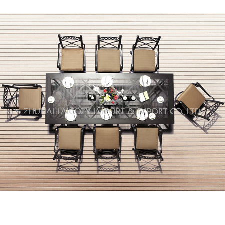 Outdoor Furniture Cast Aluminium Long Table And Chairs with Cushion