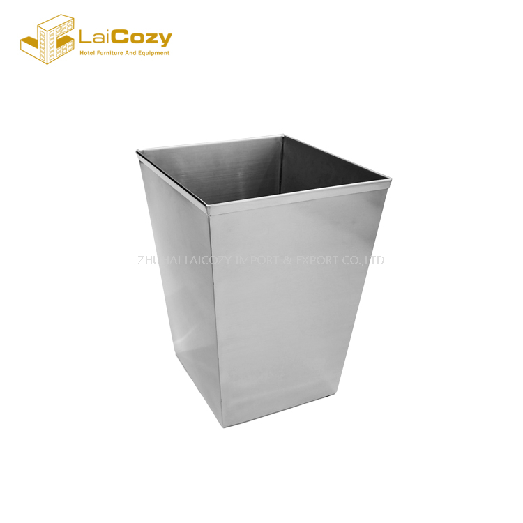 Guestroom square design stainless steel indoor metal dustbins