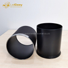 Hotel guestroom PU leather round indoor metal dustbins