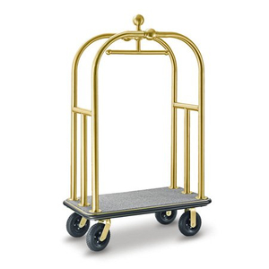 Golden foldable big hotel lobby metal luggage trolley
