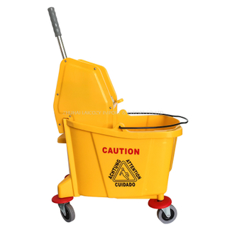Yellow 36L Side Press Squeeze Mop Wringer Trolley
