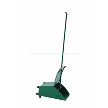 Green Iron Windproof Garbage Shovel Dustpan With Metal Long Handle