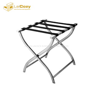 Modern elegant stainless steel hotel folding luggage rack