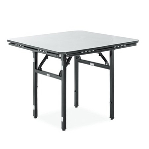 hotel large dinning square table with metal frame and plywood table top