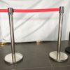 Crowd control stainless steel retractable posts with red belt