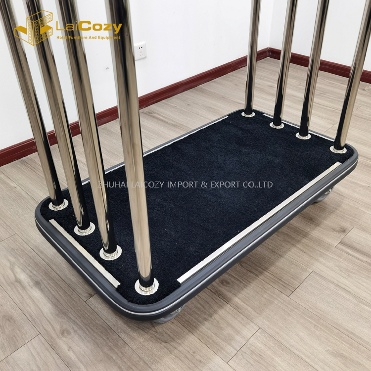 Hotel Lightweight Black Carpet Movable Luggage Bellman Trolley