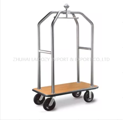 Luxury 304 Stainless Steel Hotel Luggage Trolley with Vinyl Deck Base