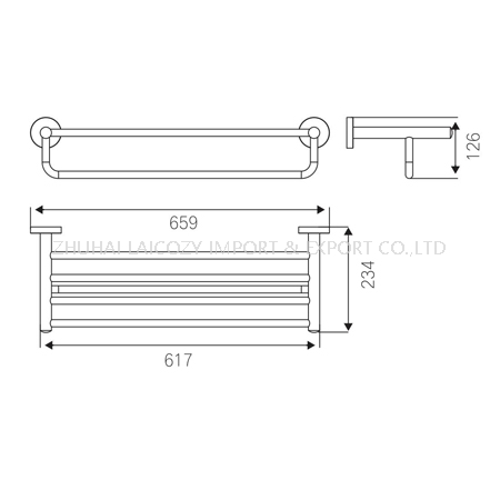 Good Quality Bathroom 304 S/S Towel Rack with Lower Bar for Hotel