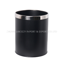Guestroom Round Single Layer Black Dustbin with Removable Top Ring