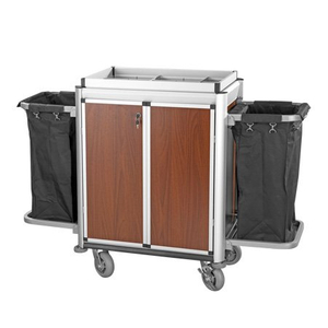 Multi-function housekeeping linen cart with door