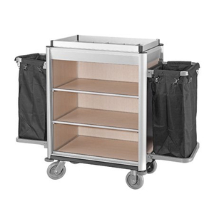 Durable aluminum housekeeping linen cart