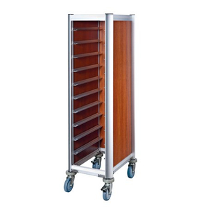 Rolling aluminium tray transportation trolley for restaurant