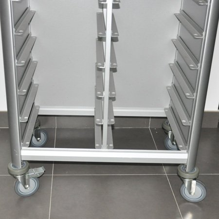 Wheeled serving aluminum tray transportation cart for restaurant