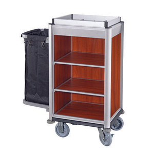 Compact Hotel Metal Maid Cleaning Cart