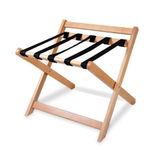 Folding solid wood luggage rack for hotel guestroom