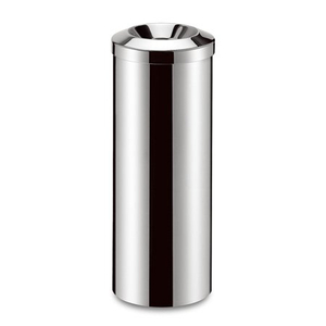 stainless steel polished finish rubbish bin for hotel lobby