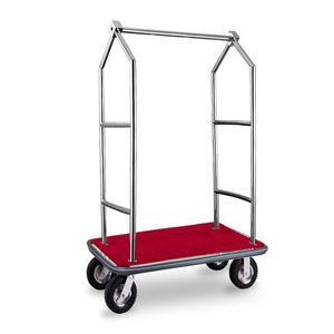 luxury stainless steel luggage cart with wheels for hotel from China