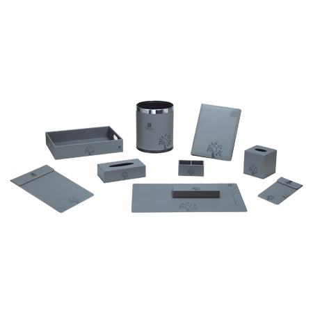 Customized Hotel Supplies Grey Color Leather Set